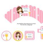 Kit Imprimible comunion fondo rosa nina 10