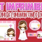 Kit Imprimible de Fondo Rosa para Primera Comunión Niña