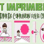 Kit Imprimible Fuxia para Primera Comunión