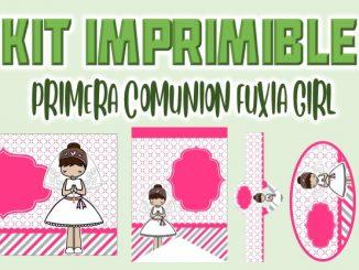 Kit Imprimible comunion fuxia nina MUESTRA