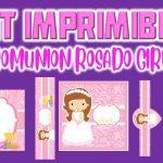 Kit Imprimible de Rosado para  Primera Comunión Niña