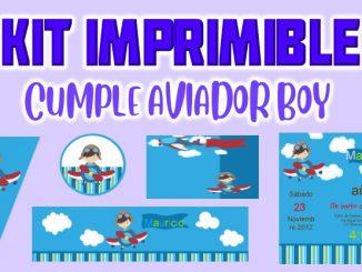 Kit Imprimible cumple Aviador muestra