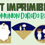 Kit Imprimible Dorado para Primera Comunión Niño