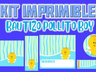 Kit Imprimible pollito bautizo nino MUESTRA