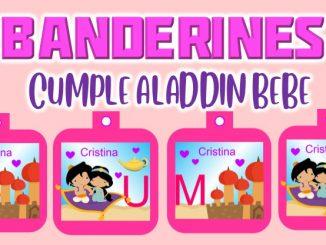 banderin aladdin bebe para cumple muestra