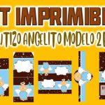 Kit Imprimible de Angelito Modelo 2 para Bautizo Niño