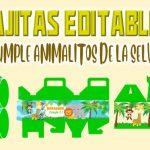 Cajitas Editable de Animalitos de la Selva para Cumpleaños