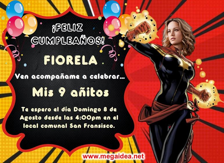 invitacion Captain Marvel