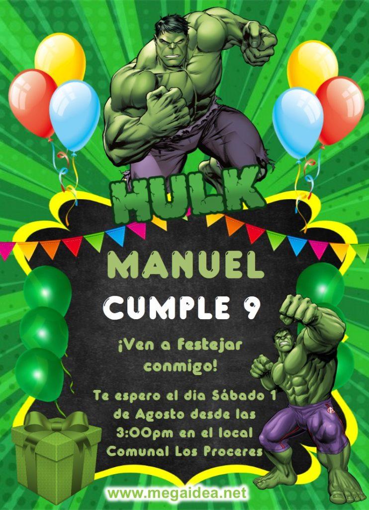 invitacion Hulk