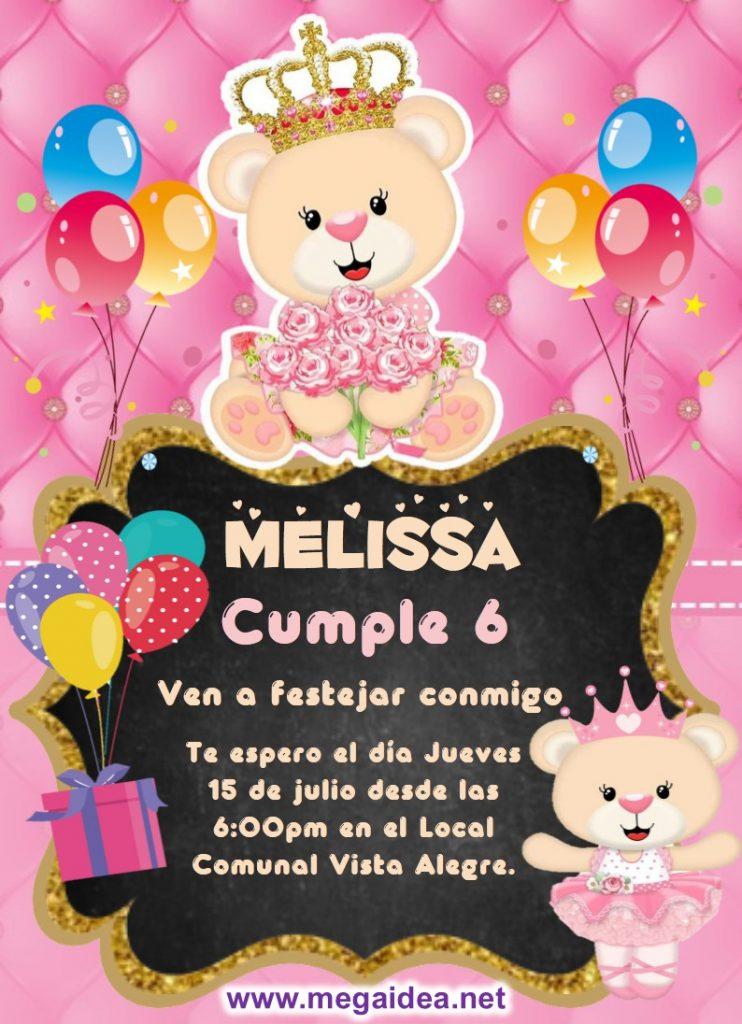 invitacion Osita Princesa