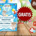 Invitación de Osito Globo Aerostatico GRATIS para Editar