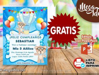invitacion Osito Globo Aerostatico muestra