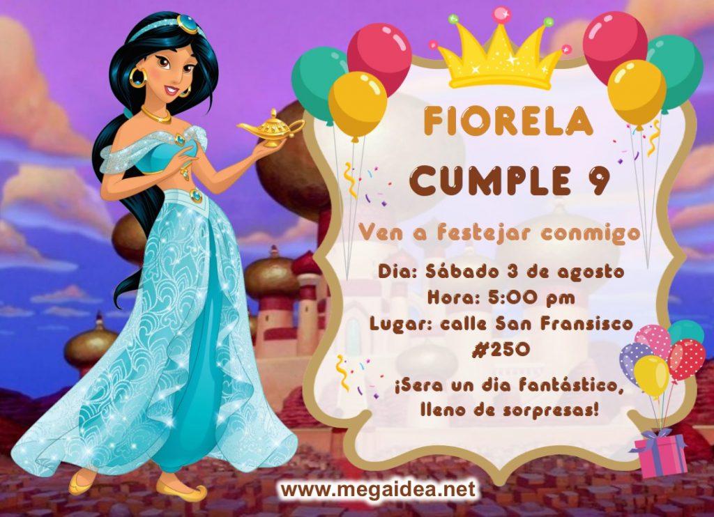 invitacion Princesa Jazmin