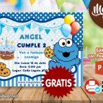 Invitaciones de Cookie Monster GRATIS para Editar