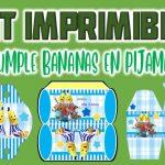 Kit Imprimible de Bananas en Pijamas para Cumpleaños