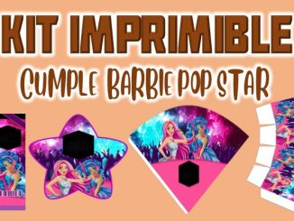 Kit Imprimible cumple Barbie Pop Star muestra