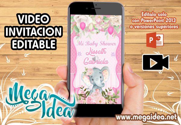 VIDEO Invitacion Baby Shower Elefante Girl