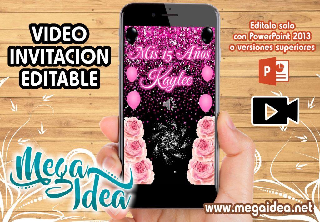 VIDEO Invitacion Negro con Rosa