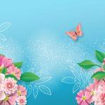 fondo celeste flores mariposa