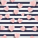 fondo rosado linea negra corazones rosa