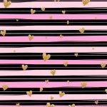 fondo rosado negro corazones dorados