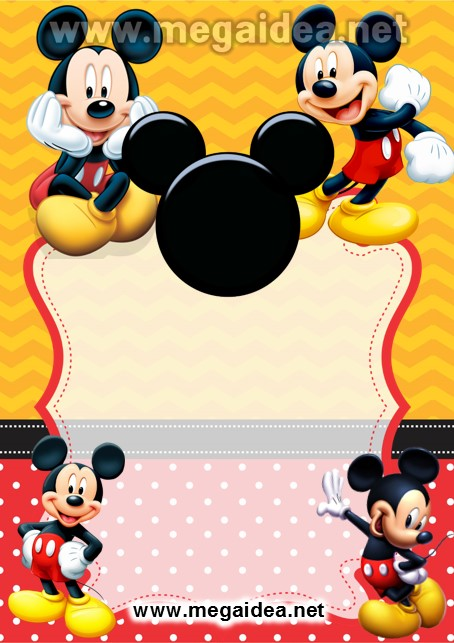 Fondo Invitacion Mickey Rojo Amarillo