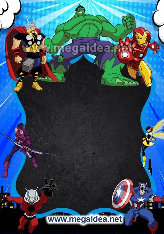 Fondo Invitacion Vengadores Heroes