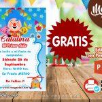 Plantilla Invitación de Payaso Plim Plim 2 invitation
