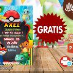Invitación de Pokemon 2 GRATIS para editar
