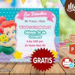 Invitación de Sirenita Bebe GRATIS para editar