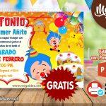Invitación de Payaso Plim Plim 3 GRATIS para editar
