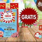 Invitación de Payaso Plim Plim 4 GRATIS para editar