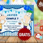 Invitación de Phineas y Ferb GRATIS para editar