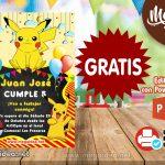 Invitación de Pikachu GRATIS para editar